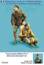 Tahk Tank 1:35 WWI French Ft-17 Driver & Commander 2 Resin Figures Kit #T35167