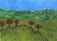 FOLK ART PRIMITIVE ALPS-DE-HAUTE-PROVENCE ALPS MOUNTAINS TREES VALLEY PAINTING