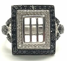 Sterling Silver 925 Black Onyx - CZ Pave Grid Caged Rectangle Cocktail Ring 6.75