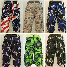 New Men's Focus Army Camo Cargo Shorts 30 to 44 *With Belt*