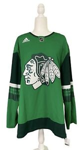 Chicago Blackhawks adidas Mens St. Patrick's Day Green Jersey Green 50/M & 52/L