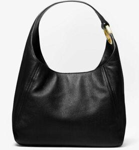 Michael Kors Fulton Large Hobo Shoulder Bag Black Leather 35S0GFTH3L NWT $398 FS