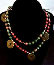 Beautiful Vintage Hand Knotted Red Green Jasper Necklace 6 Chinese Brass Coins