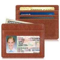 PU Leather Slim Credit Card Holder Case Sleeve with ID Window [RFID Blocking]