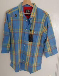 BNWT Men's Blue 3/4 Sleeve United Kingdom Of Luke Shirt Size Medium