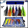 "9"" Pusher Game Fishing Trolling Lures Skirted Marlin Tuna Rigged Mahi Set of 6"