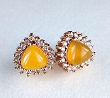 Women Lady 18K Gold plated Yellow CZ Sparkle Luxury Heart stud Earrings