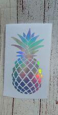 Pineapple car decal Cup Mug decal 3.5 h Holographic Silver oil sleek Beach.