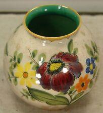 "Beautiful Impressive Hand Painted Vintage Gouda Vase, Holland, 4.5"" high & wide"