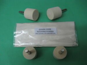 GLASS POLISHING KIT~FASTER~CERIUM OXIDE~GLASS SCRATCH REMOVER~ 4  BOBS~50g