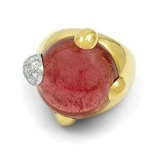 Pomellato Griffe 18KT Oro Giallo Rosa Tormalina e Anello Diamante