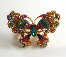 Butler and Wilson Light Multi Butterfly Ring One Size New SALE £28!!!!