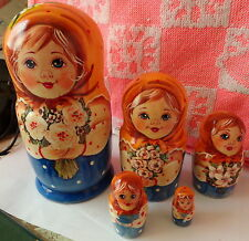 Superb Quality Flowers Roses Russian Nesting Doll 5 Pcs Large 6.3* #3S