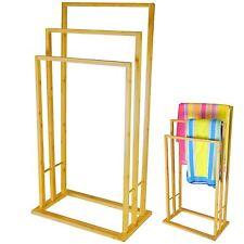 3 Tier Bamboo Wood Towel Rack Rail Bathroom Organiser Free Standing Storage Unit