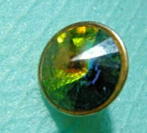 Edwardian button brass jeweled small metal shank rivoly rhinestone