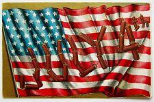 JULY 4th FLAG & Firecracker Letters Patriotic Postcard EMB