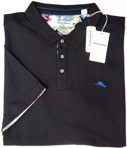 Tommy Bahama Short Sleeve Black Shirt Mens 5 O'Clock Floral Polo UPF 30 NEW $110