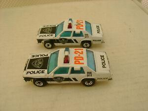 2 1987 MATCHBOX SUPERFAST Coches #16 FORD LTD POLICE PD-21 Usado para Exposición