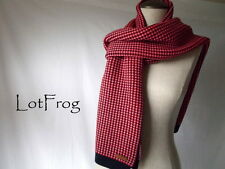NWT COACH SCARF Tricolor Tuck Stitch MUFFLER Red Navy WINTER WRAP Womens F86218