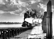 Old Photo. Ste. Genevieve, Missouri.  Train Leaves Ferry