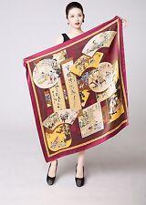"""UScarmen Women's 100% Pure Silk Square Scarf 40"""" x 40"""" 03001 Multi-Color"""