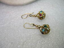 Vintage Gold Tone Regal Ball Dangle Pierced Earrings with 10kt Gold Wires,