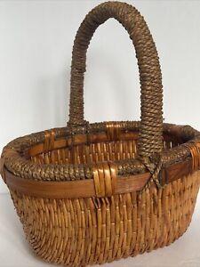 Vintage Handmade Rattan Wicker Basket Twine Handle Wooden Trim