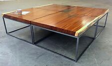 Monkeypod coffee table with metal cube base, Bjorling & Grant