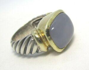 DAVID YURMAN 925 Sterling Silver 14K Gold Chalcedony Ring 11.5 gram