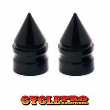 2 Black Fat Spike Billet Aluminum Tire Air Valve Stem Cap Motorcycle Bike Cycle