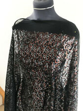 Bronze & Silver Sequin on Black Comfort Stretch Mesh Dressmaking Fabric