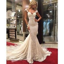 Neu Meerjungfrau rückenfrei Spitze Brautkleider Hochzeitskleid Maßgeschneidert