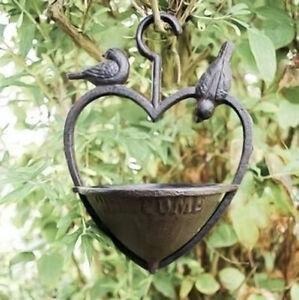 Cast Iron Loveheart Wild Bird Feeder Station Garden Water Bath Hanging Feeder