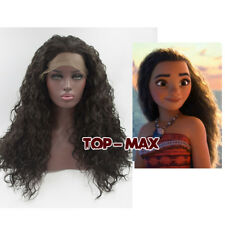 "Halloween 24"" Brown Long Curly Lace Front Wig Heat Resistant+Wig Cap For Moana"