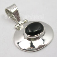 "925 Sterling Silver Black Onyx Pendant 1.1"" 4.0 Grams Ladies Fashion Jewelry"