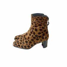 Stuart Weitzman 6 Leopard Calf Hair Bootie Giraffe Block Heel Spain $495