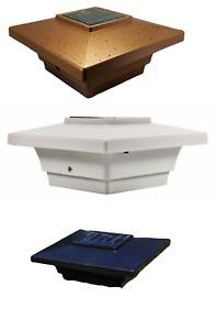 """10 Pack 4"""" Black/White/Copper SMD LED Solar Cap Light W/adapter for 3.5"""" Post"""