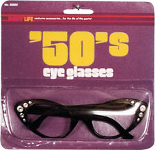 Morris Costumes 1950s Acrylic Cats Eye Frames Black Plastic Glasses. 88802
