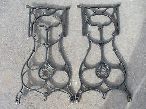 INDUSTRIAL AGE CAST IRON TREADLE LEGS ANTIQUE STANDARD SEWING MACHINE REPURPOSE