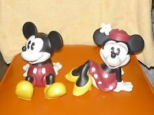 Sitting Mickey and Minnie Mouse Ceramic Piggy Banks by Enesco / Disney Pair Set