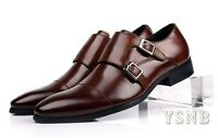 Mens Dress Shoes real Leather Brown Double Monk Strap Buckle Formal shoes size