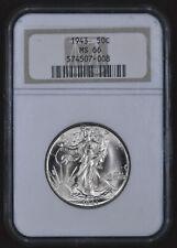 1943 U.S. 50¢ - Walking Liberty Half Dollar - NGC MS66