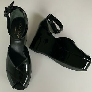 Robert Clergerie Black Patent Leather platform wedge sandals shoes sz 9