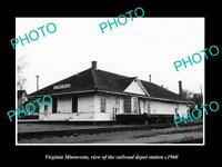 OLD LARGE HISTORIC PHOTO OF VIRGINIA MINNESOTA, THE RAILROAD DEPOT STATION c1960