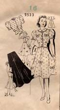 The News Pattern 2533 Vintage Sewing 1940s Dress Skirt Blouse Hollywood Vogue