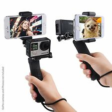 Apple iPhone 7 Plus/Camera GoPro Hero 4 Stabilizing Hand Grip Dual Mount Tripod