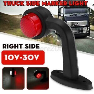 Right LED Side Marker Red+White Light Stalk Outline Indicator For Trailer Truck