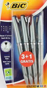 Pack 4 BIC 730R Liquid Ink Roller Ball Pens Black, Blue, Red FINE