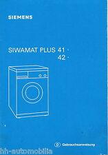 Bedienungsanleitung Waschmaschine Siemens Siwamat Plus 41 42 1988
