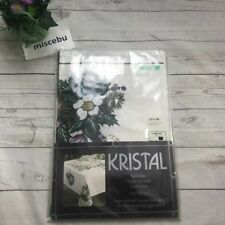 """Kristal Ttwinklestar Table Cloth Winter 130"""" X 160"""" Table White Holiday Floral"""